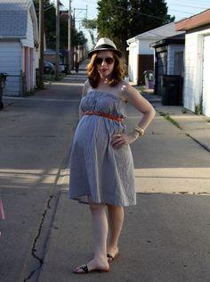 Wearing a skirt as a dress.