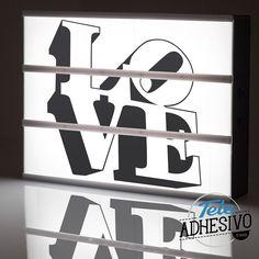 Caja de luz Lightbox personalizada LOVE diseño propio en vinilo #lightbox #personaliza #custom #customizada #vinilo #diseño #decoración #deco #TeleAdhesivo Love, Lightbox, Adhesive, Fabrics, Amor, Romances