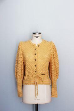 Vintage Jacket, Honey Colour, Dark Blue Jeans, Knit Jacket, Mantel, Wool Blend, Pullover, Stylish, Coat