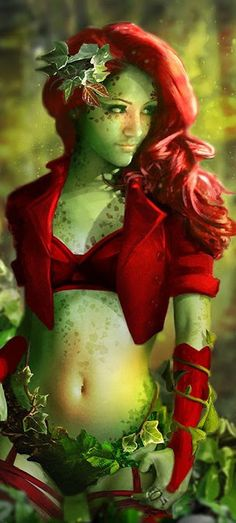 Poison Ivy fan art by JoshCalloway (detail) - Modern Design Dc Poison Ivy, Poison Ivy Cosplay, Poison Ivy Costumes, Poison Ivy Dc Comics, Batwoman, Nightwing, Damian Wayne, Red Hood, Comic Books Art