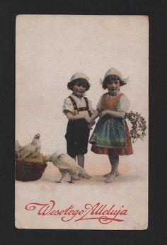 ART POSTCARD1910s LOVELY CHILD CHILDREN birds bird chicken rooster POLAND POLSKA