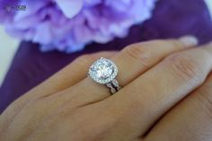 2.25 Carat Halo Wedding Set, Vintage Inspired Bridal Rings, D Color Man Made Diamonds, Art Deco, Engagement Rings, Promise, Sterling Silver by TigerGemstones on Etsy https://www.etsy.com/listing/201450243/225-carat-halo-wedding-set-vintage