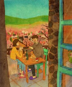 """Artist """"Puuung"""" shows that true love is all the little moments in a relationship. The illustrations show how day to day interactions are important and serve as a reminder to not forget the small things. Art And Illustration, Illustration Mignonne, Illustrations, Love Is Sweet, What Is Love, Love Is All, Puuung Love Is, Image Couple, Couple Art"""