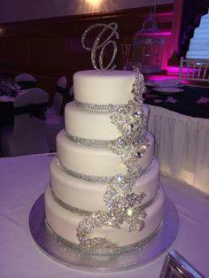 wedding cakes silver wedding cakes with bling cakeartistcafe cranford nj Sparkly Wedding Cakes, Elegant Wedding Cakes, Wedding Cake Designs, Bling Wedding Decorations, Diamond Wedding Cakes, Wedding Flowers, Rhinestone Wedding, Elegant Cakes, Purple Wedding