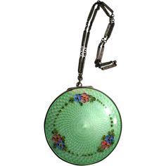 Vintage Guilloche Compact Purse Green Enamelling Sterling & 11K Gold www.rubylane.com  #vintagebeginshere
