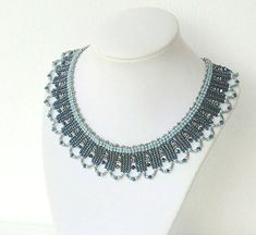 Dark Blue and Silver Herringbone Necklace by liorajewelry on Etsy
