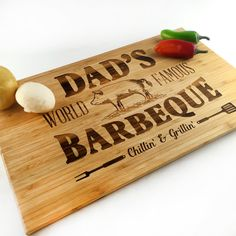 Fathers Day Gift Cutting Board Dad Jokes Grill Chill Dads World Famous Barbeque BBQ Pig Gift Laser Engraved Bamboo Cutting Board  Gift