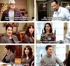 """""""Two Turkeys"""" - I guess thanksgiving won't be thanksgiving without any traumatizing parental sex talk 😃😄 Movies Showing, Movies And Tv Shows, Detective, Stupid Funny Memes, Hilarious, Watch Brooklyn Nine Nine, Cinema Quotes, Jake And Amy, Rookie Blue"""