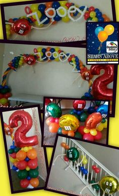 M & M birthday party balloons