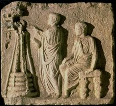 Market scene: weighing the merchandise, relief, Roman (stone), . / Museo della Civilta Romana, Rome, Italy / Roger-Viollet, Paris / The Bridgeman Art Library