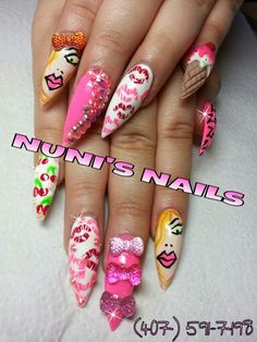 Super cool girly pointy nails... follow me on Facebook. . NUNI'S NAILS ..