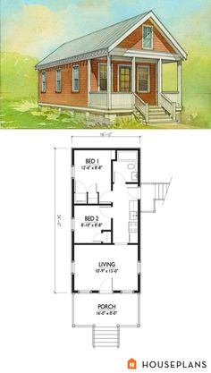 small katrina cottage floor plan and elevation 2 br houseplan number 514-5