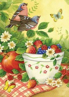Summer Bird Picnic birds butterflies bowl of strawberries blueberries sm flag #Toland #Summer