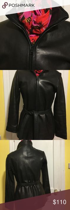Marc New York Mark New York Andrew Marc leather, size Small black. Has some peeling on R wrist please see last photo, belt slight discoloring. (I had it in a draw and didn't use it. Found the coat looked slimming without it. Leather is super soft, lining intact. Andrew Marc Jackets & Coats