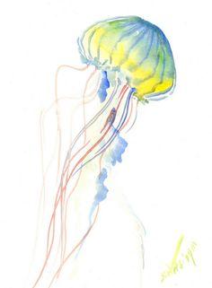 Blue Yellow Jellyfish, Original watercolor, 12 X 9 in, jellyfish minimalist wall art