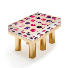 Agate table. Table realised in clear PMMA ( Lucite, plexiglass ) Agate and brass base. Limited Edition by Studio Superego