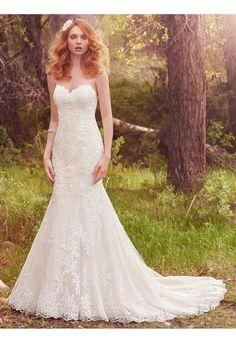 A-linie Glamouröse Schöne Brautkleider aus Spitze mit Schleppe