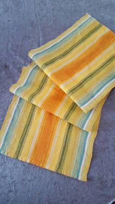 Swedish Vintage Table Runner Handwoven spring Easter Colours Linen Folk Art Scandinavian Modern Linen
