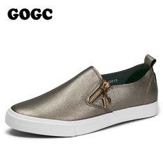 GOGC 2017 Autumn Breathable Leather Woman Flats Moccasins Comfortable Woman  Shoes Sneakers Flat Shoes Women New 7d6c291ab320