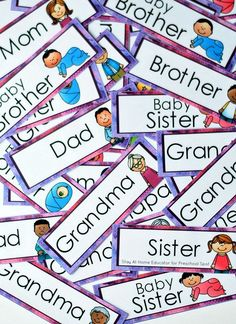 Teach Preschoolers the Spirit of Giving This Christmas - Free Printable Included - family vocabulary cards by Stay At Home Educator for Preschool Spot – I Can Give Predictable Char - Writing Activities For Preschoolers, Preschool Writing, Free Preschool, Alphabet Activities, Literacy Activities, Family Activities, Emergent Literacy, Preschool Crafts, Teaching Ideas
