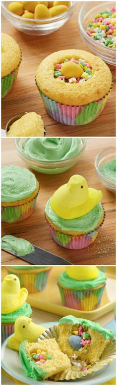 PEEPS® Surprise-Inside Cupcakes-- way fun! I used white frosting and just dipped cupcakes in green sugar. Eat within a day- moisture from cupcakes make candies inside soggy and makes colors bleed. Holiday Desserts, Holiday Baking, Holiday Treats, Holiday Recipes, Easter Desserts, Cupcake Recipes, Cupcake Cakes, Dessert Recipes, Cupcake Ideas