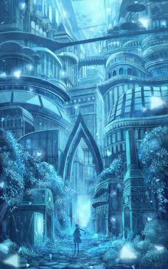 Arts by Sakimori / 防人 / Pixiv Id 211515 Fantasy City, Fantasy Castle, Fantasy Places, Fantasy World, Fantasy Art Landscapes, Fantasy Landscape, Landscape Art, Beautiful Landscapes, Fantasy Concept Art