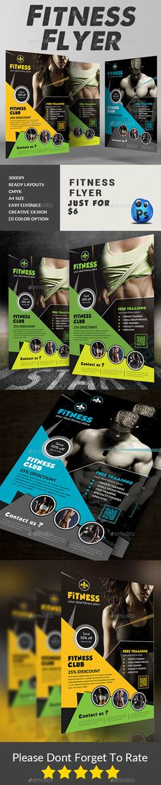 Fitness Flyer \/ Gym Flyer Template PSD V6 Flyers, Flyer template - fitness flyer