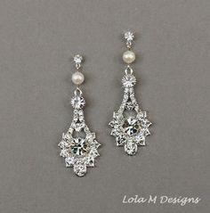 Vintage inspired wedding earrings, bridal jewelry, crystal dangle earrings, wedding jewelry, pearl and crystal earrings on Etsy, $59.00