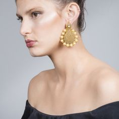 Over The Moon Chand Balis: An intricate pair of chand balis in antique gold, finished with faux pearls ($30)