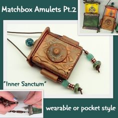 Polymer Clay Tutorial - Matchbox Amulets Part 2 - Inner Sanctum | beadcomber - How-To on ArtFire