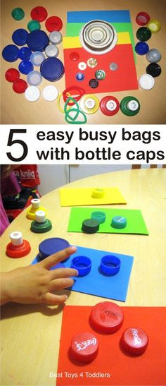 Best Toys 4 Toddlers - 5 Easy Busy Bags with Bottle Caps - simple way to use plastic caps from recycle bin for color recognition, fine motor practice and more! Quiet Time Activities, Infant Activities, Preschool Activities, Toddler Preschool, Toddler Crafts, Crafts For Kids, Plastic Bottle Caps, Bottle Cap Crafts, Indoor Games For Toddlers