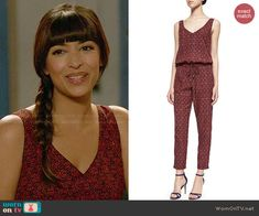 Cece's red floral jumpsuit on New Girl.  Outfit Details: http://wornontv.net/47741/ #NewGirl