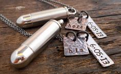 Personalized His and Hers Bullet necklace by OrganicRustCreation, $80.00