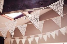 lace bunting is a must! via Etsy.