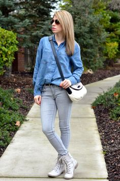 Denim Shirt and Skinny Jeans Outfit for Women | Cecil Fashion