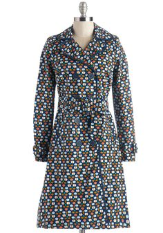 Melodic Morning Coat in Fruit. Don this darling, double-breasted trench coat and sing as you stroll! #blue #modcloth