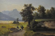 """Pint, August (1820 München-1904 ibid), """"walkers in sommer countryside"""", oil on wood,"""