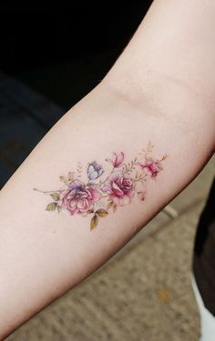 Small tattoos, inner wrist tattoos, forearm flower tattoo, flower bouquet t Rose Tattoos, Body Art Tattoos, New Tattoos, Girl Tattoos, Small Tattoos, Tatoos, Army Tattoos, Tattoo Ink, Soft Tattoo