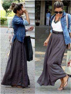 Grey maxi skirt, with tank, chambray shirt.