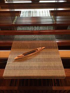 Current project on the loom. J Made Loom, hemp warp Canopus shuttle, linen weft