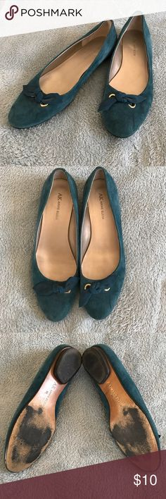 Teal SUEDE FLATS size 9 Priced to sell Soft suede leather in teal these flats are adorable with bow detail. Worn just a handful of times there is just one small mark on left shoe, see pics ANNE KLEIN Shoes Flats & Loafers