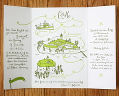 Illustrated Invitations for a Wedding in Germany