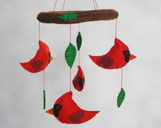"Items similar to Baby crib mobile, Bird mobile, felt mobile, nursery mobile, baby mobile ""Bird - rose"" on Etsy"