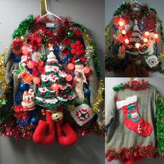 Festive Frock Tacky Ugly Christmas Sweater Hodge Podge of Christmas, Ornaments Men's XL, Light Up Sweater, Funny Crochet Christmas Tree Making Ugly Christmas Sweaters, Tacky Christmas, Christmas Wreaths, Christmas Decorations, Christmas Ornaments, Crochet Humor, Funny Crochet, Crochet Christmas Trees, Ugly Sweater Party
