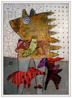 Elke Trittel acrylic,collage on paper 20x25cm