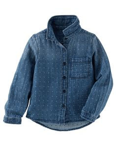 24 M Baby Girl Dotted Denim Button-Front Top | OshKosh.com