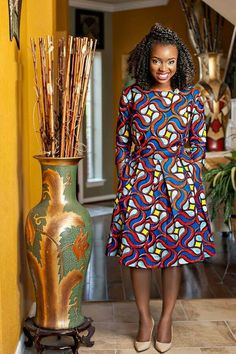 Blue Red Yellow Ankara Print Fabric Long Sleeve Knee Length Dress