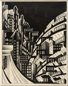 'New York' by artist & printmaker Louis Lozowick Lithograph, × 9 in. via Whitney Museum of American Art, NY Art Nouveau Pintura, Wal Art, Francis Picabia, Whitney Museum, Harlem Renaissance, Art Prints For Sale, Art Graphique, Urban Landscape, Modern Prints
