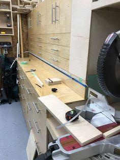 This my take on the Jay Bates mitersaw station. Diy Garage Storage Cabinets, Building Kitchen Cabinets, Garage Organisation, Diy Cabinets, Workshop Storage, Garage Workshop, Woodworking Shop Layout, Diy Woodworking, Mitersaw Station