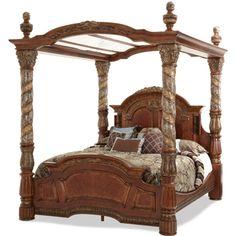 AICO Villa Valencia King Canopy Bed by Michael Amini AI-72000EKCAN-55